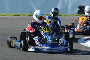 James Penrose keeps the opposition behind him at last year's championship meeting in Christchurch. Penrose won the 125cc Rotax Max Light and 100cc Yamaha Light class. Picture / Fast Company