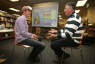 Nik Gregg, Sustainability Options co-founder, talks with Craig Parsons who attended the workshop. Photo/John Borren