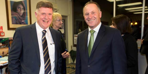 Herald journalist John Roughan and Prime Minister John Key. Photo / Richard Robinson
