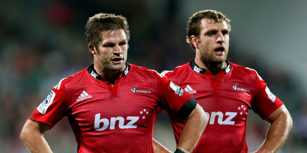 Richie McCaw (L) and Luke Whitelock (R) react after the round 14 Super Rugby match between the Crusaders and the Sharks at AMI Stadium. Photo / Getty Images.