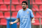 Luis Suarez joins his team's practice session at Arena do Jacare Stadium before the start of the World Cup. Photo / AP