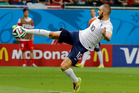 France's Karim Benzema scores his side's fourth goal during the match between Switzerland and France.