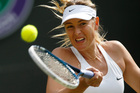 Maria Sharapova of Russia plays a return to Samantha Murray of Britain during their first round match at the All England Lawn Tennis Championships in Wimbledon. Photo / AP