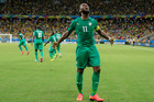 Ivory Coast's Didier Drogba (11) celebrates after Wilfried Bony scored his side's first goal against Greece's goalkeeper Panagiotis Glykos. Photo / AP