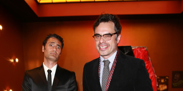 Taika Waititi and Jemaine Clement at the What We Do in the Shadows New Zealand  premiere (Norrie Montgomery).