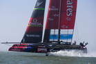 Emirates Team New Zealand in the fog before races against Oracle Team USA. Photo / Brett Phibbs