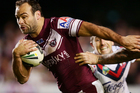 Manly's Brett Stewart makes a break during the match between the Manly Sea Eagles and the Sydney Roosters at Brookvale Oval in Sydney on Friday. Photo / Getty Images