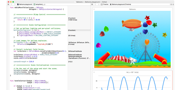 The Swift 'interactive playground' from Apple's Swift developer page. Photo / Apple Inc