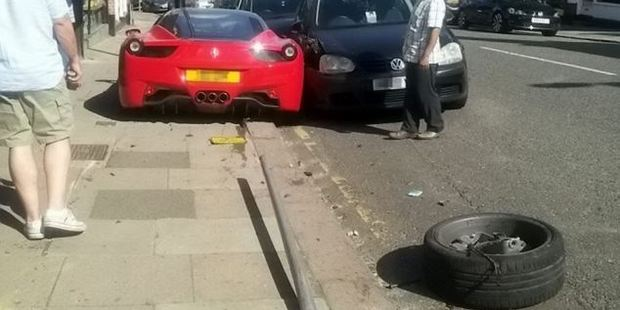 The Ferrari 458 took out four other cars in the incident.