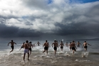 Westlake Boys' High School pupils take to the water yesterday. Photo / Brett Phibbs