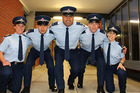 Constables Heney, Chueh, Kopelani, Green and Jackman are ready for the frontline. Photo / NZ Police
