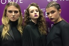 The Lorde look three ways, on models Rhiannon, Amberly and Kendall at the M.A.C x Lorde master class. Picture / Janetta Mackay