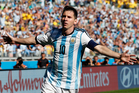 Argentina's Lionel Messi celebrates after scoring during the group F World Cup match between Argentina and Iran . Photo / AP