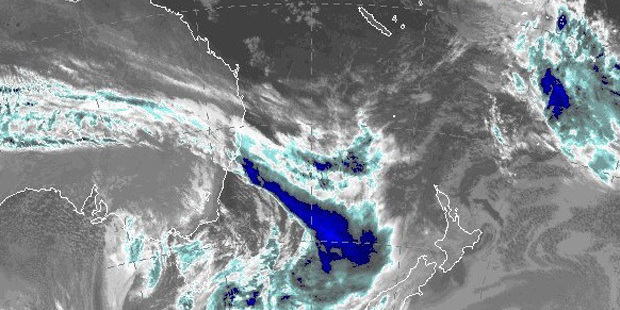 The storm front shown in a satellite image from the Australian Bureau of Meteorology.