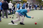 Dave Gunn sends down his bowl during the TigerTurf Winter League tournament at the Wanganui Bowling Club yesterday afternoon. Photo/Bevan Conley