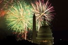 Fireworks illuminate the sky over the US Capitol building and the Washington Monument. Photo / AP