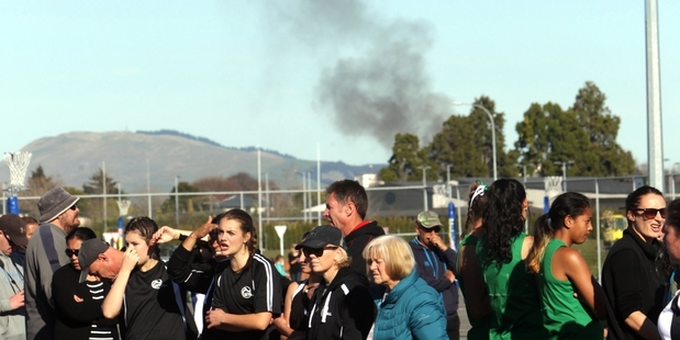 The view from the Hawke's Bay Regional Sports Park as a fire was reported in nearby Karaitiana St, Frimley, about noon yesterday. Photo/Paul Taylor