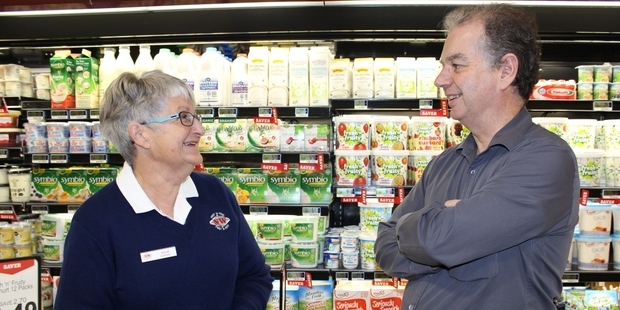 After 34 years Dannevirke's Julia Cushing has retired from her job at the New World supermarket. Julia is pictured with the third owner of the business Garry Hasler on Friday, her last day at work. Photo/Christine McKay
