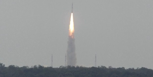 A Polar Satellite Launch Vehicle (PSLV) is launched from the Satish Dhawan Space Centre (SDSC) in the Indian town of Sriharikota. Photo / AFP