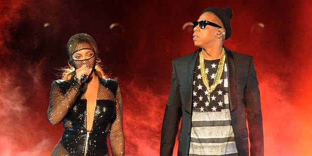Beyonce and Jay Z perform together on the opening night of their On The Run Tour at Sun Life Stadium in Miami, Florida. Photo/AP