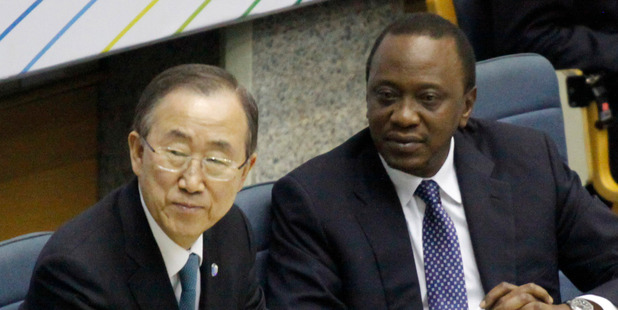 UN Secretary-General Ban Ki-moon left and Kenyan President Uhuru Kenyatta. Photo / AP