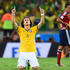 Brazil's David Luiz celebrates as the game finishes 2-1 to Brazil. Photo / Getty Images