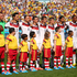 Germany's players sing the national anthem ahead of their quarter-final clash with France at Maracana in Rio de Janeiro. Photo / Getty Images
