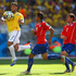 A goal by Brazil's Hulk, left, is disallowed for hand ball. Photo / Getty Images
