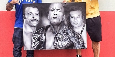 "Jason Manukau presented his artwork of Dwayne ""The Rock"" Johnson, his father and his grandfather to the star."