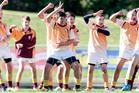 040714bf16 Tai Mitchell. Rotorua Gold peform their pre-match haka 4 July 2014 Rotorua Daily Post Photograph by Ben Fraser