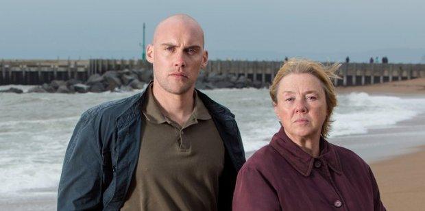 Joe Sims as Nigel Carter and Pauline Quirke as Susan Wright in Broadchurch.