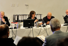 Waitangi Tribunal hearing at Trinity Wharf Tauranga in regards the future of Rena. Pictured: Ron Crosby, Judge Sarah Reeves, Professor Sir Tamati Reedy, Sir Douglas Kidd.