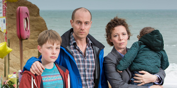 A killer in their midst: Joe Miller (Matthew Gravelle, centre) was revealed as the murderer of a schoolmate of Tom's (Adam Wilson, left) in a case investgated by wife Ellie (Olivia Colman, right).