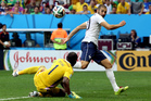 Nigeria's goalkeeper Vincent Enyeama makes a save from France's Karim Benzema during the World Cup round of 16. Photo / AP