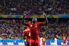 Belgium's Romelu Lukaku celebrates after scoring his side's second goal during the World Cup round of 16 soccer match between Belgium and the USA. Photo / AP