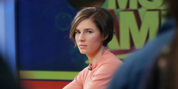Amanda Knox waits on a television set for an interview in New York. Photo / AP