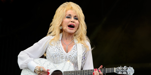 US singer Dolly Parton performs at Glastonbury music festival in England. Photo / AP