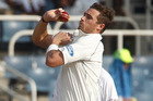 Tim Southee bowls during the second day of their first cricket Test match against West Indies. Photo / AP