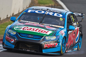 Mark Winterbottom from Ford Pepsi Max Racing winds up his Ford along the main straight during Race 13 of the ITM V8 Supercars at Pukekohe Park, south of Auckland on Sunday. 27 April 2014 New Zealand H