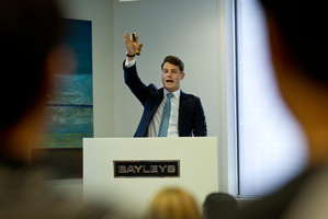 Auctioneer Daniel Coulson at the Bayleys auction rooms on Fanshaw Street. Photo / Dean Purcell.