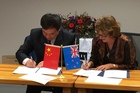 Qilu University of Technology vice president Kuang Weiwu and EIT deputy chief executive Claire Hague sign a memorandum of understanding expected to bring more Chinese students to Hawke's Bay to study wine science and viticulture. Photo/Supplied