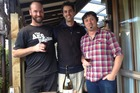 Greystone vineyard manager Nick Gill, winemaker Dom Maxwell and marketing manager Nik Mavromatis celebrate their win.