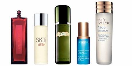 Shiseido Eudermine Revitalising Essence; SK-II The Facial Treatment Essence; La Mer The Treatment Lotion; Clarins Hydra Quench Intensive Serum Bi-Phase; Estee Lauder Micro Essence Treatment Lotion.