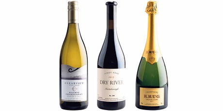 Clearview Reserve Hawke's Bay Chardonnay 2013; Dry River Martinborough Pinot Noir 2012; Champagne Krug Grande Cuvee Brut NV. Photos / Supplied.