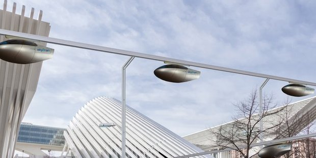 The skyTran system could help ease gridlocked roads.