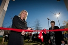 Lady Deborah Holmes pictured during the official opening of the garden that has been vandalised.