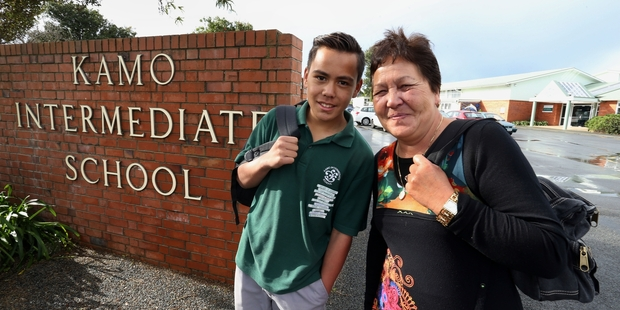 Kamo Intermediate School foundation pupil Betty Dunn (nee Kaire) with her grandson Ethan Wikaira, now a pupil at the school. Photo/John Stone