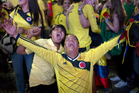 Colombia fans celebrate their team's 2-0 victory over Uruguay. Photo / AP