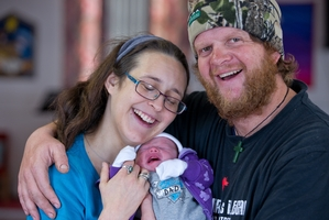 Corey Stephens with his wife Elie and baby Koriniti. Photo / Stewart Nimmo