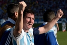 Argentina's Lionel Messi celebrates his side's winning goal. Photo / AP